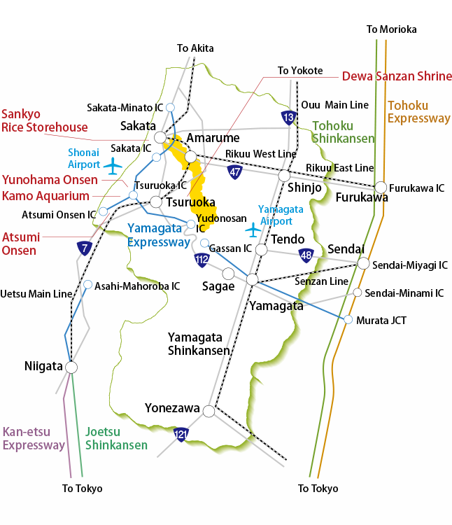 Shonai Town Transportation information map